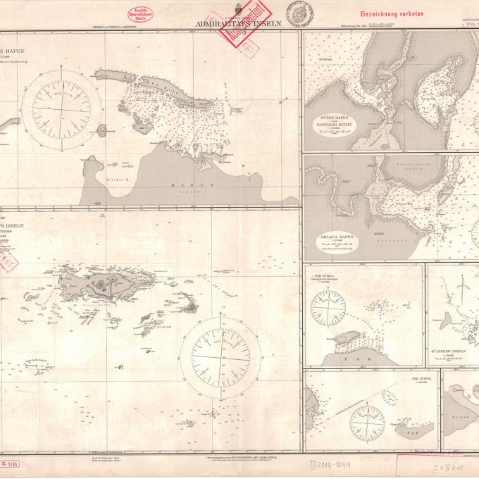 Karte, südlicher Stiller Ozean, Admiralitäts-Inseln